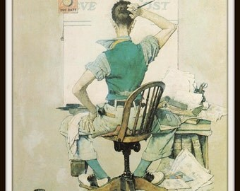 Norman Rockwell Art Print, The Artist, Classic 1938 Self Portrait, Vintage Book Plate Illustration, Ready to Frame