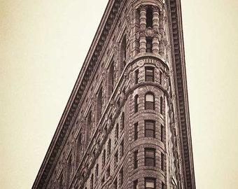 New York Canvas Art, Flatiron Building, Architecture Photography, NYC Art Print, NYC Canvas Print, Sepia, Cream, Brown, Wall Art