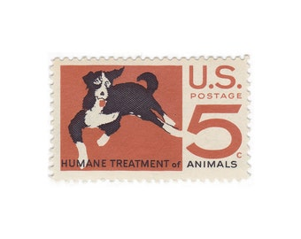 10 Unused Vintage Postage Stamps - 1966 5c Humane Treatment of Animals - Item No. 1307