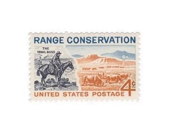 10 Unused Vintage Postage Stamps - 1961 4c Range Conservation - Item No. 1176