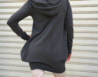 Grey Loose Hooded Top / Long Sleeves Women Top / Sweater Dress / Oversize Sweatshirt / MD 10116