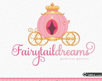 Premade Cinderella Carriage Logo, Princess Logo, Fairytale Logo, Cinderella Logo, Pink and Gold Logo Design, Pumpkin Carriage Logo