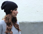 ACRYLIC Soft Light Weight Wool Slouchy Beanie - Black