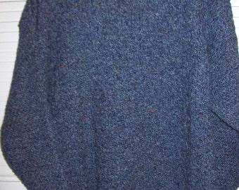 Vintage Scotland Double Ribbed Men's Pullover Sweater  All Wool Slate Blue XL