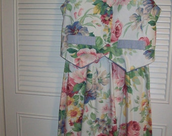 Vintage Floral Vest and Maxi Skirt, Summer Finale Outfit.  BEAUTIFUL Size 12
