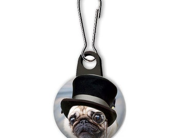 Zipper Pull, Steampunk Pug Dog in Hat Zipper Pull for Hoodies, Jackets, Lunch Tote Zipper Charm, Backpack Zipper Pull, Party Favors Gifts