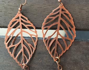 Big copper leaf earrings