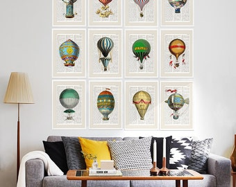 HOT AIR BALLOONS Dictionary Art Print Set, Prints on Dictionary Pages, Wall Art, Wall Decor, vintage balloons, nursery room decor, #153