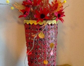 Fall Flower Arrangement, Fall Flowers, Red Flower Arrangement, Red Flowers, Wall Hanger, Faux Flowers, Fall Flowers, Door Decor, Wreath