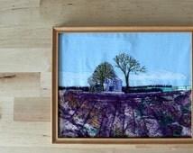 Lavender Field Textile Art - Landscape Embroidery - Framed Decorative Art