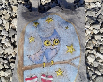 Linen designed grocery bag, Owl in starry woods, Linen tote bag, Unique hand painted bag, shopping bag, eco bag, made in Croatia