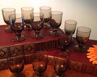 12 vintage smokey brown cordial shot glasses