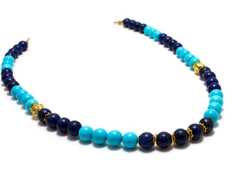 Turquoise and Lapis/ Blue Ombre Necklace/ Blue Bridal Necklace/ Blue Lapis Necklace/ Gold Lapis Necklace