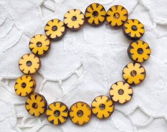Czech Picasso Artisan 12 mm Flat Flower Table Cut Beads - Egg Yolk Yellow - 15 Beads