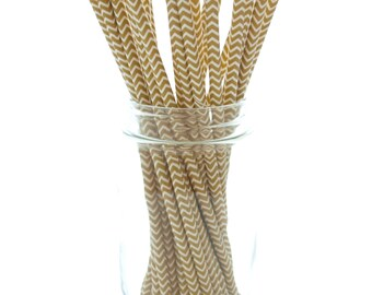 Gold Chevron Straws, Golden Anniversary Party Straws, Paper Wedding Straws, 25 Pack - Gold Zig Zag Straws