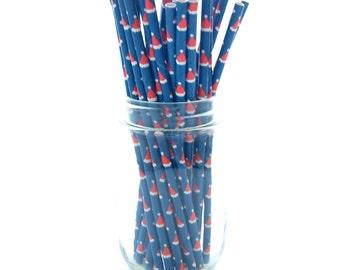 Santa Hat Straws, Christmas Party Straws, Santa Clause Party Straws, Holiday Party Supplies, 25 Pack - Santa Hat Straws