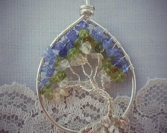 blue, peridot, honey tree of life