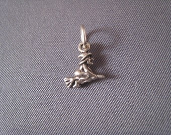 Witch on a Broom .925 Sterling Silver Charm