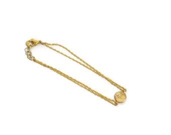 Gold Disc Cubic Zirconia Connector Bracelet matte 16 kt gold plated