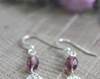 Silver teardrop and purple glass drop earrings,  silver teardrop dangle earrings, silver teardrops, purple glass drop earrings
