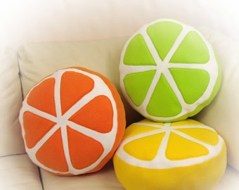Set of 3 Pillows, Citrus Pillow, Food Pillow, Fruit Pillow, Toy Pillow, 3D Pillow,  Beach House Decor