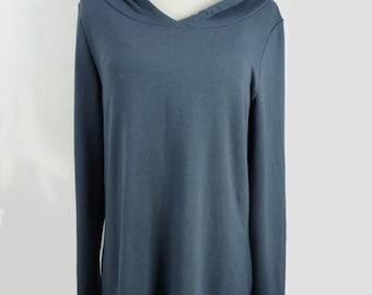Women's bamboo tunic, dark grey ladies long sleeved loose fitting top, women's spring fashion, ready to ship