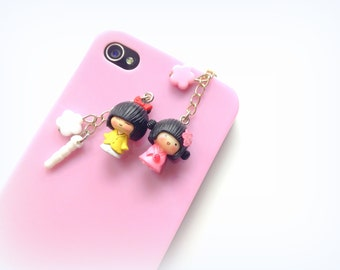 Kawaii Girl Dust Plug Charm, Zakka Geisha Doll Charm, Cherry Blossom, Sakura Flower, Earphone Jack Plug, Cell Phone Dangle Charm. Sweet Girl