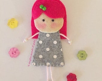 Doll brooch.Handmade with love.Cute and original accessories.Lovely on your coat.Hang on a bag.Felt brooches.