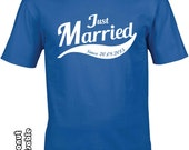 Just Married Personalized T-Shirts, Mr and Mrs, hubby wifey, husband gift, Bride Groom, Wedding Gift,Married since tee, dated t-shirts
