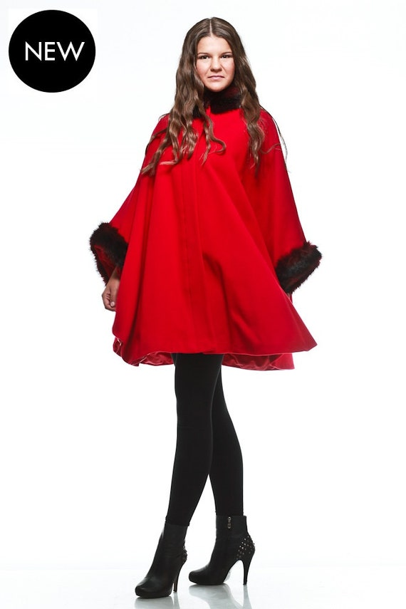 Red cape coat / wool cape coat / cashmere cape coat / faux fur