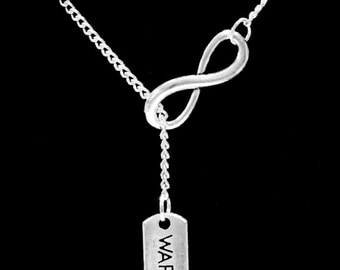 Gift For Her, Infinity Warrior Survivor Courage Inspirational Gift Y Lariat Necklace
