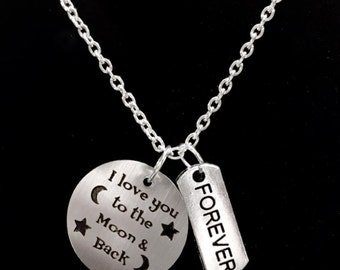 Gift For Her, I Love You To The Moon And Back Forever Necklace, Wife Gift, Mom Gift, Girlfriend Gift, Friends Forever Sisters Gift Necklace
