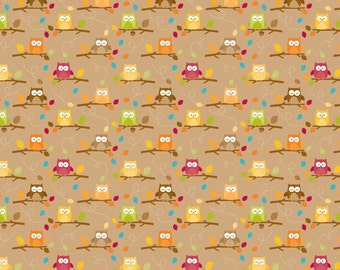 Riley Blake Owl Fabric C4033 Brown, Happy Harvest by Doodlebug Designs, Toddler, Children's & Baby Quilt Fabric, Cotton Fabric with Owls