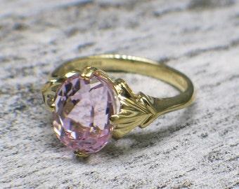 Light Pink Kunzite 14K Gold Ring