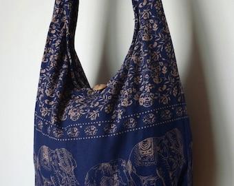 Navy Blue Cotton Bag Handbags Elephant Bag Hippie Hobo Bag Boho Bag Shoulder Bag Sling Bag Messenger Bag Crossbody Purse