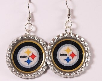 Go Steelers! Sparkle And Glittered Pittsburgh Steelers Inspired Bottle Cap  Earrings.