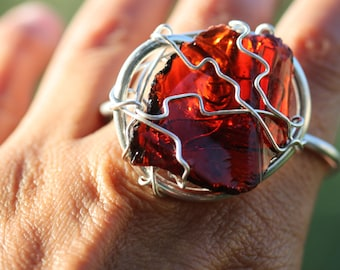 Double Finger Rare Shaman Brown Andara Crystal Ring in Sterling Silver Wire - Magical Two Finger Andara Ring!! -