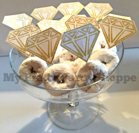 GOLD Printable Diamond Ring Donut Cupcake Toppers Wedding