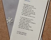 Weihnachts-Klappkarte »Winter« (Friedrich Hölderlin), Buchdruck, Bleisatz auf Munken pure mit Kuvert