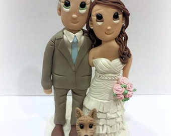Custom Wedding Cake Topper with One Small Dog