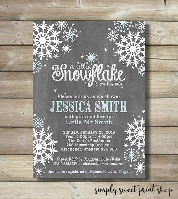winter wonderland boy baby shower invite invitation blue white snow