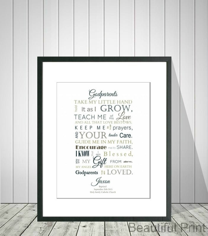 A Meaningful Baptism Gift Idea: GODPARENTS Baptism Gift Idea From Godchild Gift From