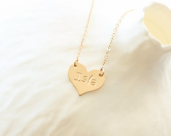 Personalized Stamped Heart Necklace / Gold Heart Necklace / Initial Heart Necklace, Monogram Necklace, Hand Stamped Heart, Engraved Necklace