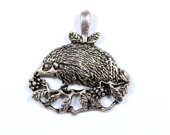 Vintage hedgehog pendant, pewter hedgehog, MASJ 94, large pewter pendant, woodland animal, forest animal, hedgehog and leaves