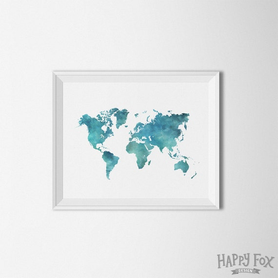 World map printable art watercolor art print watercolor home world map printable art watercolor art print watercolor home decor map printable watercolor map travel poster explore world art print sciox Image collections
