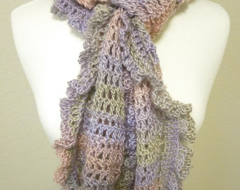 Crocheted Ruffle Scarf in Pastel Colors