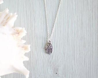 Antique Silver Hamsa Hand Necklace - Tiny Hamsa Hand Necklace - Little Hand Necklace - Hand of Fatima - Small Silver Hamsa Necklace