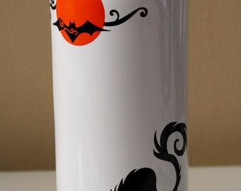 Black Cat Wine Bottle, Halloween Cat Wine Bottle, Halloween Candle Holder, Cat and Moon, Trick or Treat, Upcycled Wine Bottle