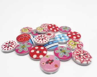 10 patterned buttons, spotty buttons, flower buttons gingham buttons, stripy buttons, 15mm buttons, uk button supplies, sewing supplies