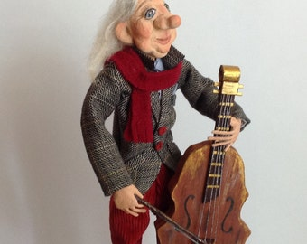 Paper clay doll  Art Clay doll Sculpted doll  Interior doll Cellist Collecting doll OOAK other Clay doll Decorative doll Human figure doll